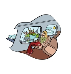 Girl sits in plane and peers into window vector