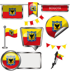 glossy icons with flag of bogota vector image vector image