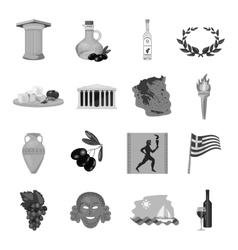 Greece set icons in monochrome style big vector
