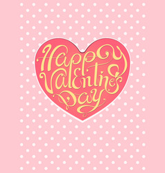Happy valentines day vintage lettering pink vector