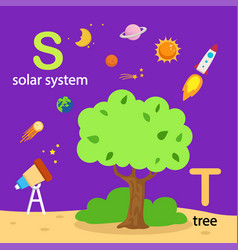 Isolated alphabet letter s-solar system t-tree vector