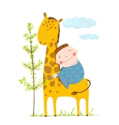 Little boy hugging a giraffe vector