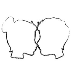 lovers couple profile kissing vector image