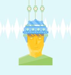 Man head with creative helmet vector