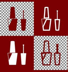 Nail polish sign bordo and white icons vector