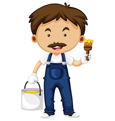 Painter with bucket of paint and paintbrush vector image vector image