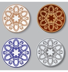 Plate with ornament Set vector image vector image