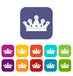 Royal crown icons set flat vector