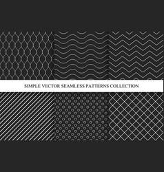seamless dark geometric minimalistic patterns vector image