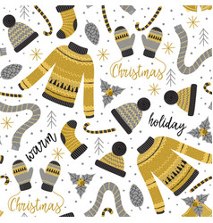 seamless pattern with gold christmas warm clothes vector image vector image