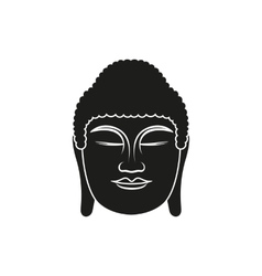 Simple black buddha face style icon vector