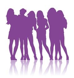 Teenage schoolgirls talking to each other vector image vector image