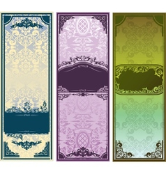 Three vertical colorful banners with classic vector image