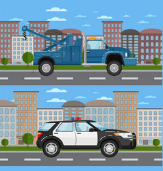 Tow truck and police car in urban landscape vector