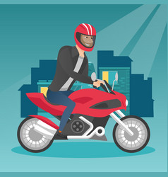Young caucasian man riding a motorcycle at night vector