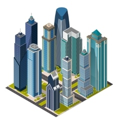 Isometric citymegapolis concept office buildings vector