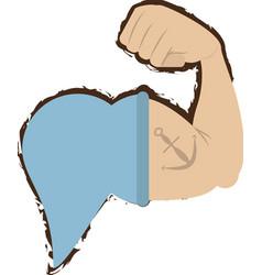 sailor arm muscular anchor tattoo nautical doodle vector image