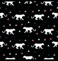 Silhouette of cougar seamless black pattern vector