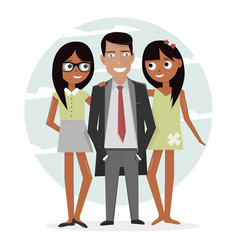 Man surrounded by two beautiful girls successful vector
