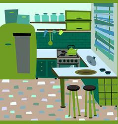 cartoon flat interior room kitchen vector image