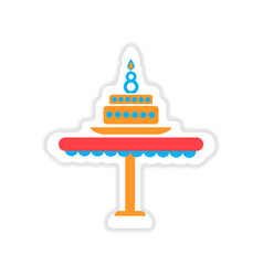 Paper sticker on white background candle cake vector