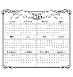 calendar grid 2014 blank template vector image