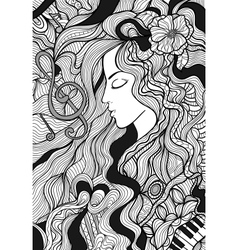 Girl and music vector