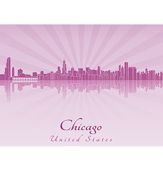 Chicago skyline in purple radiant orchid vector