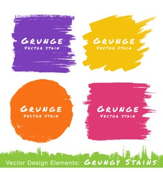 Set of hand drawn flat grunge stains on white back vector