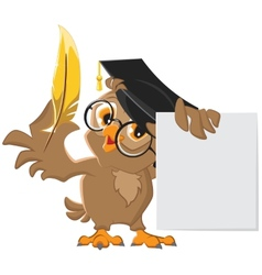 Wise owl holding a golden pen and a sheet of paper vector