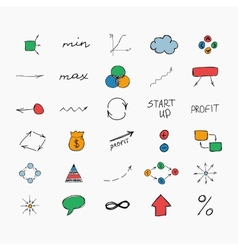 Simple colorful hand drawn icons business and vector