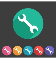 Wrench badge flat icon sign set symbol vector