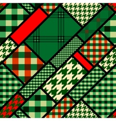 Patchwork pattern with green plaid patches vector