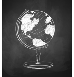 Globe drawn on chalkboard vector