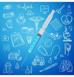 syringe and hand draw medicine icon vector image