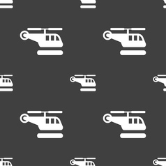 Helicopter icon sign seamless pattern on a gray vector