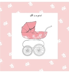 Pram for girl vector