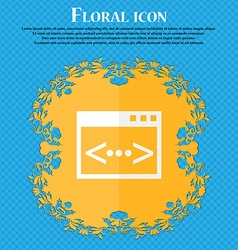 Code sign icon programmer symbol floral flat vector