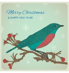 Christmas greeting card with bird sitting on twigs vector image