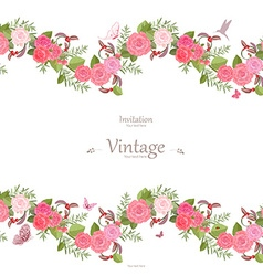 Seamless border of lovely roses and butterflies vector