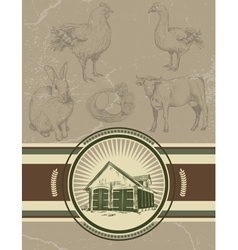 Retro vintage farm background vector