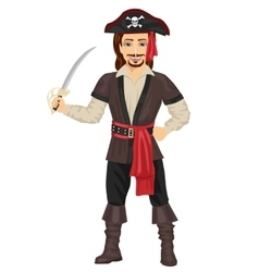 Handsome man in pirate costume holding sword vector image