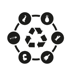 Black garbage icon set vector