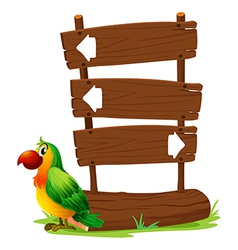 A colorful parrot beside a signboard vector image