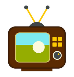 ball on the screen of retro tv icon isolated vector image