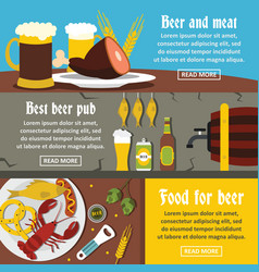 beer pub food banner horizontal set flat style vector image vector image