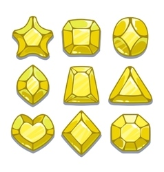 Cartoon yellow different shapes gems vector image vector image