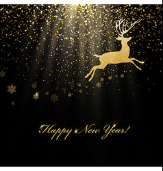 Christmas deer and golden lights Abstract holiday vector image