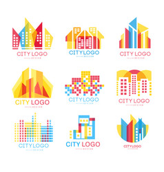 city logo set logotype elements with buildings vector image
