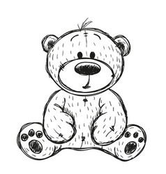 Drawing teddy bear vector